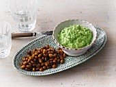 Vegetarian pea and ricotta spread and baked soybeans