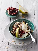 Five-grain porridge with pear and pomegranate seeds