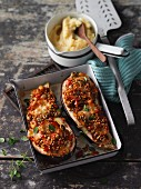 Stuffed aubergines with buckwheat