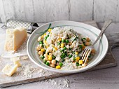 Risi e bisi with soybeans, sweetcorn and parmesan