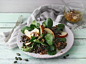 Beluga lentil salad with lamb's lettuce, feta and apple