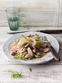 Fennel and bean salad with soba noodles and tahini