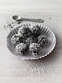 Spirulina and dried fruit energy balls with sweet lupin flour