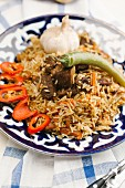 Fried rice with beef, chillis and garlic