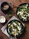 Salad with grilled broccoli, cauliflower, spinach, cabbage, garlic, dukkah and a yoghurt dip