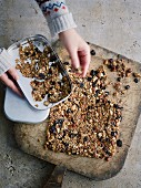 Honey and nut granola with sesame and chia seeds and dried cherries