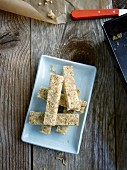 Banana bars with kamut flakes and dates