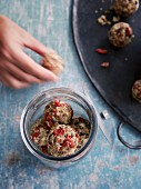 Linseed and matcha energy balls with goji berries