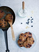 Banana and almond pancakes with blueberries