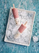 Raspberry, banana and granola ice lollies for breakfast