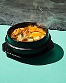 Sundubu jjigae (silken tofu and seafood stew, Korea)