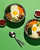 Bibimbap (a colourful rice bowl with beef, vegetables and a fried egg, Korea)