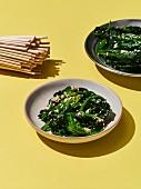 Sigeumchi muchim (spinach salad, Korea)