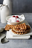 Psyllium husk waffles with raspberry quark