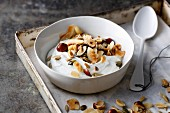 Crunchy nut muesli with cardamom and vanilla quark