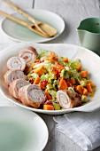 Stuffed chicken roulade and avocado and papaya salad