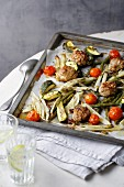 Marinated summer vegetables with meatballs fresh from the oven