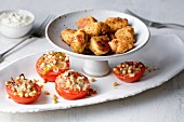 Chicken nuggets with stuffed tomatoes
