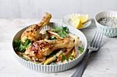 Chicken drumsticks with white asparagus in buttermilk sauce