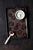 Homemade beetroot chips with herb quark
