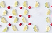 Raspberries and lime slices