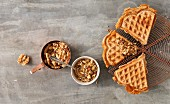 Spelt and cheese waffles with walnut salsa