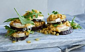 Lentil salad and aubergine towers with goat's cheese