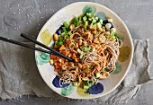 Soba noodle salad with carrot, cucumber and peanut dressing