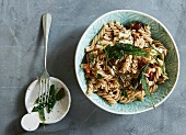 Whole grain fusilli with sun-dried tomatoes, sage and feta