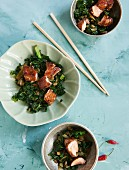 Asian kale with marinated salmon and chilli