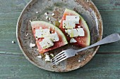 Feta on slices of watermelon as a snack