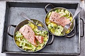 Salmon with pointed cabbage and potatoes