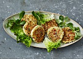 Cauliflower patties with bacon