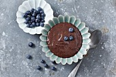 Chocolate chia pudding with blueberries