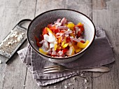 Colourful horseradish salad with ham