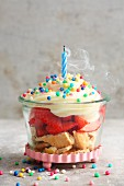 A quick and easy birthday cake in a glass