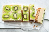 Raw kiwi cake from the fridge