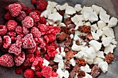 Frozen raspberries, crumbled meringue and chocolate biscuits for an ice bombe cake