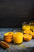Glasses of freshly squeezed orange juice