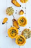 Heirloom pumpkin soup with pumpkin seeds