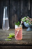 Strawberry lemonade with mint and lime