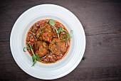 Lamb meatballs in spicy tomato sauce
