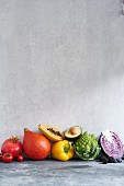 Fruit and vegetables in rainbow colours