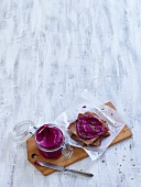 Beetroot and cashew spread with pomegranate juice