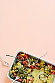 Vegan oven-baked ratatouille with coconut blossom sugar