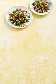 Lamb's lettuce with cucumber, pear and pomegranate seeds
