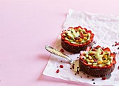 Fruit tarts with a date and fig base