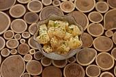Miso potato salad in a bowl