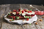 Mixed wheat bread with beetroot, raspberries and Camembert