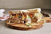 A sandwich with liver sausage and Chinese cabbage and ginger